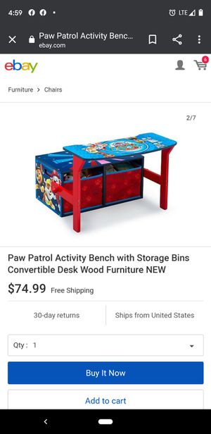 Paw patrol desk, bench, and storage for Sale in Dracut, MA