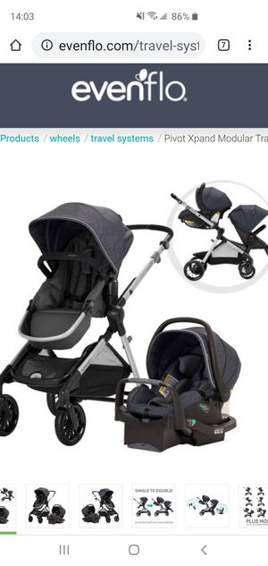 Evenflo Expand double stroller, infant seat, base in dark grey and extra toddler seat in black for Sale in Chula Vista, CA