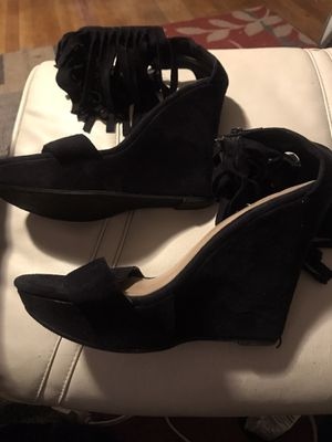 Black Suede Wedge Fringed Shoe for Sale in Fresno, CA