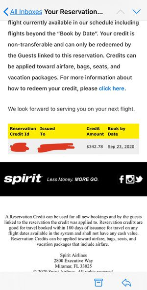 Spirit airlines credit voucher for Sale in Wellesley, MA