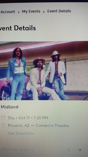 1 ticket to Midland at Comerica Theater in Phx, AZ . October 17, 2019 for Sale in Gilbert, AZ