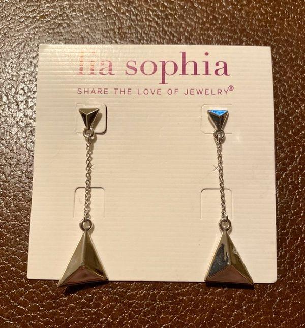 Lia Sophia Silvertone Triangle Geometric Earrings