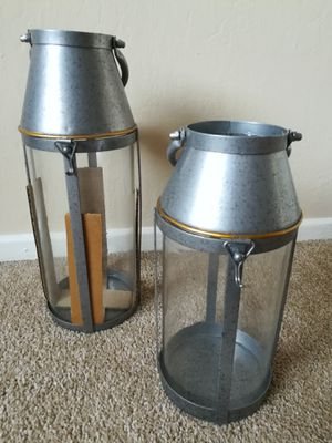 Galvanized Steel and Glass Milk Jug Lanterns Lot for Sale in Sunnyvale, CA
