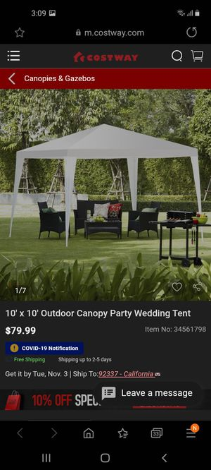 Party tent 10x10 for Sale in Bakersfield, CA