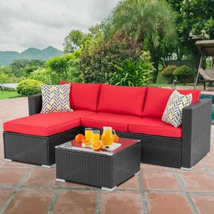 Patio Table & Pool Chairs Wicker Furniture Outdoor Rattan Sofa Garden Conversation Backyard Set (Red) for Sale in Menlo Park, CA