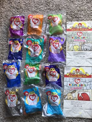 1998 MCDONALDS TY TEENIE BEANIE BABIES - COMPLETE SET 1-12 IN PACKAGES PLUS 2 HAPPY MEAL BAGS- COLLECTIBLE TOYS for Sale in San Diego, CA