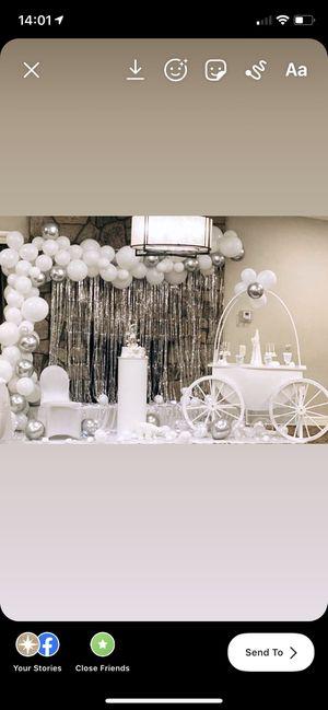 Cinderella Carriage, pedestals, balloon garlands for Sale in Teterboro, NJ