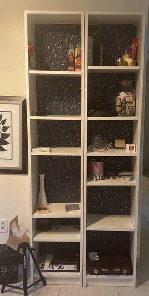 Two white bookshelves for Sale in Sunrise, FL