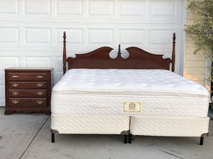 King Bedroom set with Headboard, Stern & Foster Mattress, boxsprings, rail and Broyhill Nightstand. Very good condition. Delivery available. Hablar e for Sale in Raleigh, NC