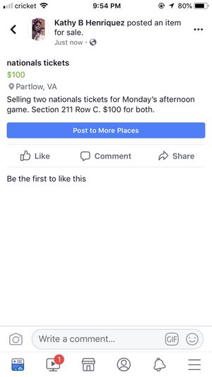 Nationals Tickets for Sale in Partlow, VA