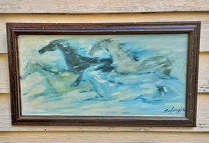 """Ted De Grazia degrazia mid century modern abstract Horse painting Free as The Wind on 20"""" x 10"""" canvas for Sale in Saginaw, MI"""
