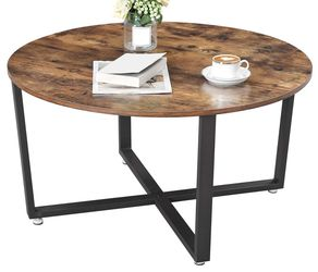 Round Coffee Table, Industrial Style Cocktail Table, Durable Metal Frame, Easy to Assemble, for Living Room, Rustic Brown ULCT88X for Sale in Rancho Cucamonga,  CA