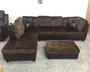 Brand New Brown Microfiber Sectional Couch With Ottoman. Can Deliver Today! for Sale in Portland, OR