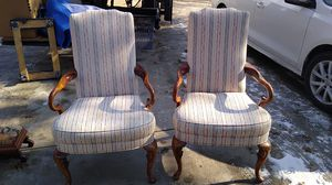 Matching antique finely upholstered arm chairs for Sale in Bridgeville, PA