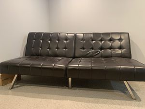 Dark brown Leather Futon bed for Sale in Elmhurst, IL