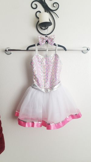 Dance, theatrical costume sequined tutu dress sz IC, intermediate s 6x with head band bow for Sale in Moreno Valley, CA