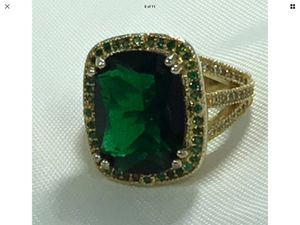 Noble princess cut 7.66 Ct emerald gold plated over 925 sterling silver size 7 for Sale in San Diego, CA