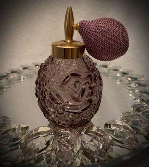 Antique Vintage Japan/Japanese Perfume/Parfum Pump Ball Atomizer Lilac Purple Glass Floral/Flower Rose Motif for Sale in San Diego, CA