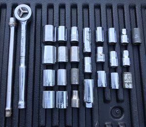 """Vintage USA Made Craftsman 1/2"""" drive sockets and ratchet w/ extension- 27 pcs for Sale in Bradenton, FL"""