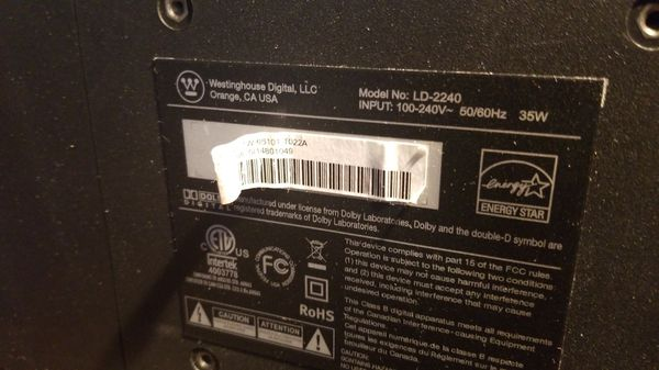 Westinghouse 1080p 23 inch HDTV with TV tuner composite LD2240