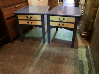Blue and Creme Solid Wood End Tables / Nightstands - Delivery Available for Sale in Tacoma,  WA