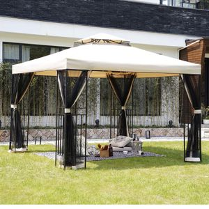 10x10 Feet Outdoor Gazebo Patio Economical Pergolas for Shade Outdoor Tents with Netting for Backyard, Garden, Pool-Side for Sale in Rancho Cucamonga, CA