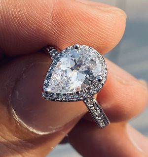Womens Sterling Silver Engagement Wedding Faux Diamond Ting Size 7 Dainty for Sale in Queens, NY