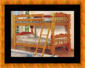 Wooden twin bunk bed frame with 2 mattress for Sale in Hyattsville, MD