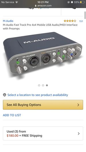 M-Audio FastTrack pro 4x4 mobile usb/midi interface with preamps for Sale in Fresno, CA