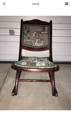 Wooden Folding Rocker Rocking Chair Tapestry Victorian Vintage Antique for Sale in McKees Rocks, PA