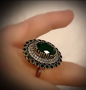 EMERALD Wizard of Oz FINE ART RING Size 8 Solid 925 Sterling Silver/Gold WOW! Brilliant Facet Oval/Round Gemstones, Diamond Topaz M1166 V for Sale in San Diego, CA