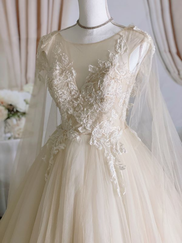 Nude lace&tulle wedding dress with cape/ Quinceanera&Sweet 16 dress