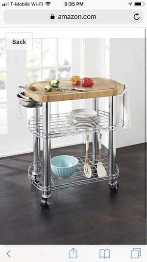 Bamboo prep table kitchen island new in box for Sale in Sterling Heights, MI