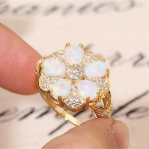 14k gold over sterling silver Opal CZ stones Ring Sz7 for Sale in Itasca, IL