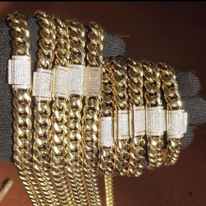 Miami cubanlink gold plated chains bracelets 14k for Sale in Orlando, FL