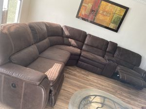 Big Sectional Real suede leather for Sale in Beverly Hills, CA