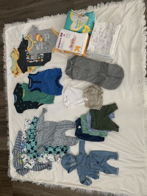 Newborn clothing/ swaddle/ diapers for Sale in Fullerton, CA