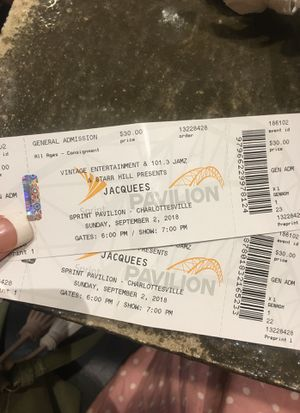 Jacquees tickets for sale for Sale in Charlottesville, VA