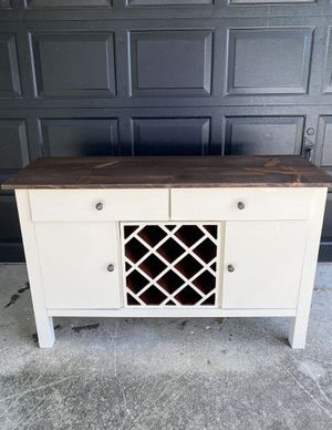Farmhouse Buffet Table with Wine Rack for Sale in Fort Myers, FL