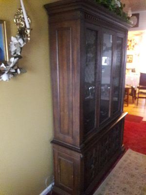 Antique china hutch with a light on the inside for Sale in Newport News, VA