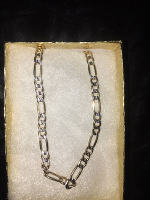 "10k solid gold two tone Figaro style chain 20"" for Sale in San Diego, CA"