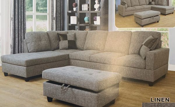 Light grey linen sectional couch and ottoman