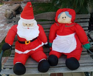 Christmas Decorations - 4' Tall Stuffed Mr & Mrs Santa Claus for Sale in Pomona, CA