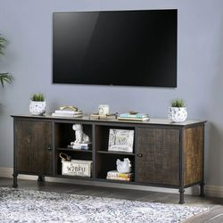 """Rustic Tv Stand 72"""" In Weathered Oak With Black Top for Sale in Ontario,  CA"""