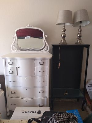 Antique White Dresser, Black Shelf Unit and Lamps for Sale in Peoria, AZ