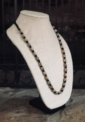 Exotic and handmade Gold and silver tone metal beads necklace with knotted design for Sale in Alpharetta, GA