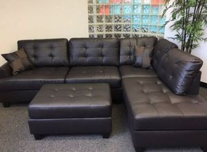 Brand New Espresso Faux Leather Sectional Sofa Couch + Ottoman for Sale in Silver Spring, MD