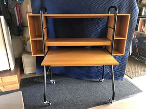 "Desk with side storage boxes. On wheels. 57"" wide 57"" tall x27.5"" deep for Sale in Encinitas, CA"
