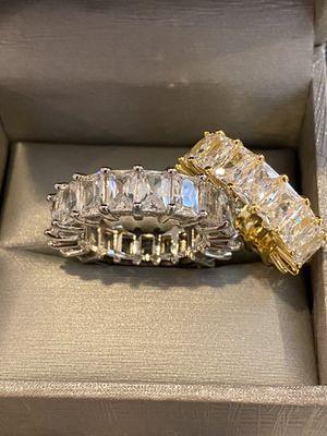 Unisex—Silver/Gold Matching Set—Baguette Cut—Code 70LA for Sale in Washington, DC