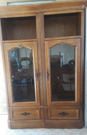 Solid wood vintage Glass cabinet for Sale in Miami, FL